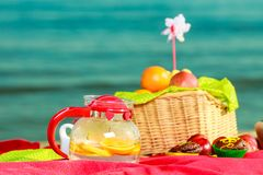 Picnic basket on blanket near sea. Relaxation during summertime concept. Picnic basket with fruit on red blanket near sea Stock Images