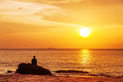 Relaxation in sunset light Stock Photo