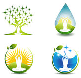 Relaxation symbols. Woman meditate at the front of abstract tree with stars, drop as a fields and sunrise, abstract water wave Stock Photo