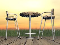 Relaxation at the terrace - 3D render Stock Photo