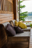 For relaxation terrace overlooking the river. Royalty Free Stock Photo