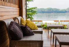 For relaxation terrace overlooking the river. Royalty Free Stock Photos