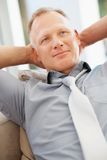 Relaxation - Thoughtful mature business man Royalty Free Stock Photography