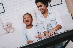 Relaxation Time With Mother. Girl Laugh and Play. royalty free stock image
