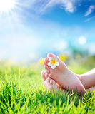 Relaxation in touch with nature. Spring background Stock Photo