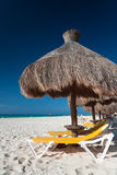 Relaxation under parasol. At Caribbean Sea Stock Photo