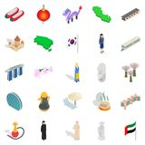 Relaxation on vacation icons set, isometric style Royalty Free Stock Photos