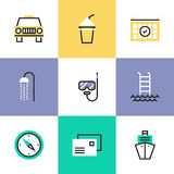 Relaxation and vacation pictogram icons set Royalty Free Stock Photos