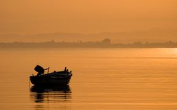 Relaxation view on the sea. With boat royalty free stock image