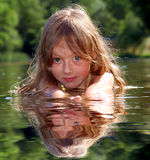Relaxation on the water. Girls relaxation on the water Stock Image