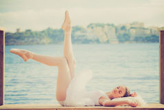 Relaxation. Woman ballet dancer relaxing in peace Stock Photo