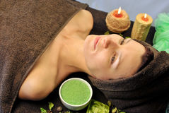 Relaxation. Woman relaxing at spa salon Stock Photos