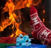 Relaxe após o jantar de Natal imagens de stock royalty free