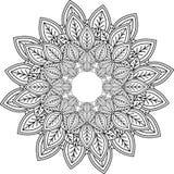 Relaxe, as mandalas, tirando com linhas de coloração, no backgroun branco Fotos de Stock
