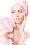 Relaxe com flor cor-de-rosa Fotos de Stock Royalty Free