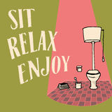 Relaxe e aprecie rotular Imagem para o interior, arte do WC Imagens de Stock Royalty Free