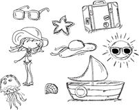 Relaxe na praia, doodle ilustração royalty free