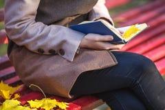 Relaxe no parque Mulher bonita nova com o livro que senta-se no banco Au Imagens de Stock