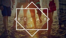 Relaxe o conceito do divertimento do verão da praia do abrandamento imagens de stock royalty free