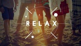 Relaxe o conceito do divertimento do verão da praia do abrandamento imagem de stock royalty free