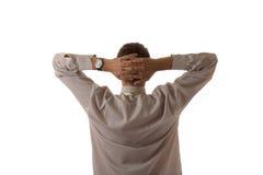 Relaxe o homem de negócios atrás Imagem de Stock Royalty Free