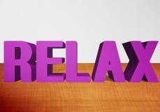 RELAXE o texto 3D Imagem de Stock Royalty Free
