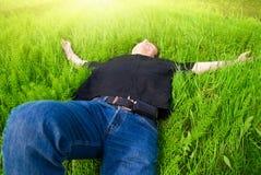 Relaxe sob o sol da mola Fotos de Stock
