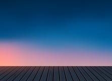 Relaxe, tempo de férias, feriado, assoalho de madeira da textura com fundo natural do cenário da skyline da noite Imagens de Stock