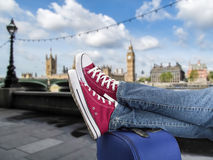Relaxed arrival in london Royalty Free Stock Photos