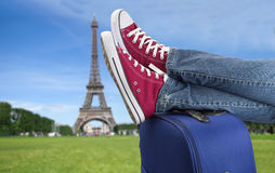 Relaxed arrival in Paris Stock Photo