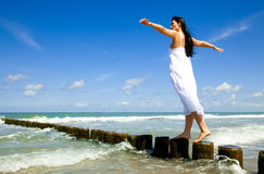 Relaxed balance woman Stock Images