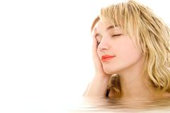 Relaxed blonde woman. In water royalty free stock photos