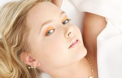 Relaxed blue-eyed blond Royalty Free Stock Photos