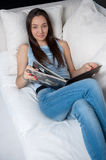 Relaxed with a book Royalty Free Stock Photo
