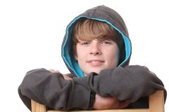 Relaxed boy. Portrait of a relaxed young boy wearing a hoodie Stock Images