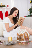Relaxed brown hair reading on the couch at christmas Royalty Free Stock Photography