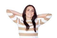 Relaxed brunette girl Stock Image