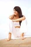 Relaxed brunette woman Stock Images