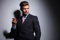 Relaxed business man in a classic suit smoking a cigar Royalty Free Stock Photography