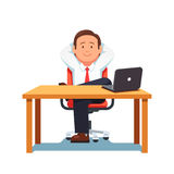 Relaxed business man sitting in confident pose. Relaxed business man entrepreneur sitting in office chair in confident pose at a clean desk with laptop computer stock illustration