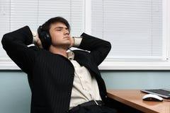 Relaxed businessman having a break stock photos