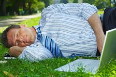 Relaxed businessman outdoor Stock Photos