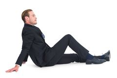 Relaxed businessman posing and thinking Royalty Free Stock Photo