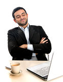 Relaxed Businessman working with computer Stock Images