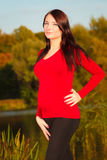 Relaxed calm pregnant woman in park outdoor Stock Images
