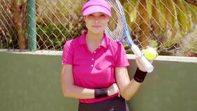 Relaxed confident young woman tennis player stock video
