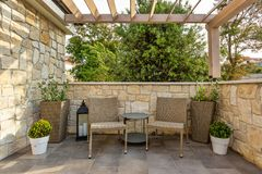 Relaxed corner of terrace for tea royalty free stock photos