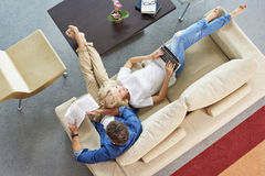 Relaxed couple at home Stock Photo