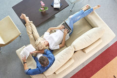 Relaxed couple at home Royalty Free Stock Photo