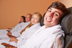 Relaxed couples after the sauna Royalty Free Stock Photography